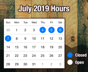 July 2019 Store Hours